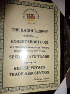 Haigh Trophy Certificate Doig 2014